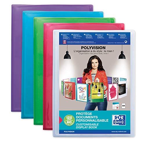 OXFORD Protège-Documents Polyvision A4 120 vues / 60 pochettes Couverture Polypro Translucide Coloris Assortis