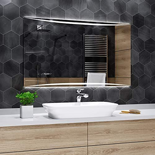 Alasta SPIEGEL | Vilnius Badspiegel 120x70cm mit LED Beleuchtung | Wandspiegel Badezimmerspiegel | Spiegel nach Maß | LED Farbe Kaltweiß | Wähle eine Variante