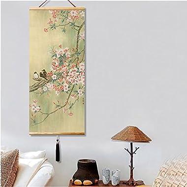 EAPEY Japanese Wall Art Asian Scroll Wall Art Chinese Painting Japanese Scroll Wall Art Cherry Blossom Decor Home