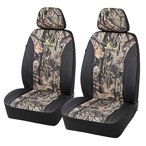 Mossy Oak Front Camo Seat Covers Low Back - Made with Premium PVC & Canvas Fabric, Airbag Compatible, Universial Fit Most Bucket Seats - Official Licensed Product