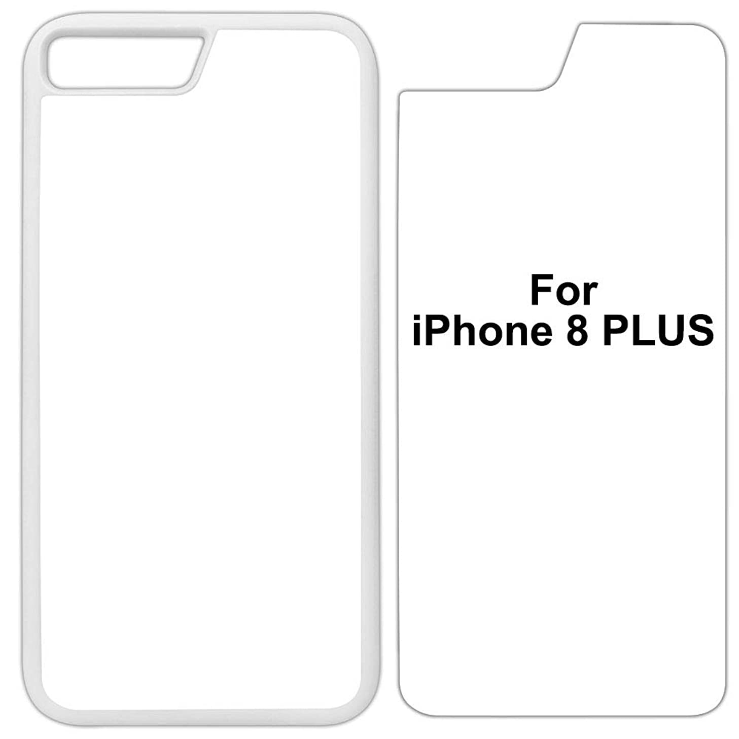5 x Innosub Sublimation Blank Cases Compatible with Apple iPhone 8 Plus-Rubber-White - Blank Dye Cases and Inserts for Dye Sublimation Phone Cover/Blank Printable Cases, Made by INNOSUB USA