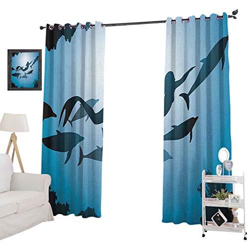 YUAZHOQI - Cortina opaca subacuática con diseño de sirena y delfines bajo el agua para viajes, aleta de buceo, vida marina, cortinas opacas para dormitorio de 132 x 274 cm, color azul, negro y azul
