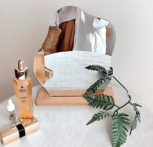 Specchio Irregolare Acrilico Portatile Desktop Vanity Specchio Con Supporto In Legno Per La Casa Vanity Desk Decor E Bellezza