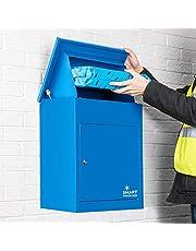 Smart Parcel Box, Middelgrote pakketbrievenbus met pakketvak en brievenbus, veilige pakketkast voor thuis en bedrijf, met terugtrekblokkering, geschikt voor alle bezitters, 44 x 35 x 58 cm, blauw