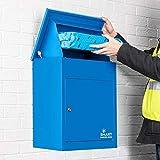 Smart Parcel Box, mittelgroßer Paketbriefkasten mit Paketfach und Briefkasten, sicherer Paketkasten für Zuhause und Unternehmen mit Rückholsperre, für alle Zusteller geeignet, 44 x 35 x 58 cm, blau