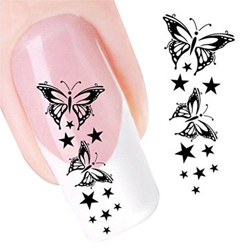 YUYOUG DIY Conseils d'art d'ongle d'autocollant de décalque de glissière de Transfert d'eau de Papillon à la décoration