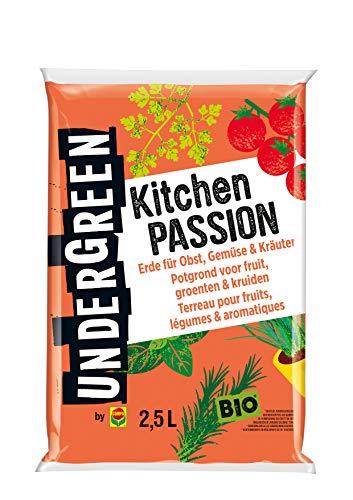 Undergreen by Compo Kitchen Passion, Erde für alle Obst- und Gemüsepflanzen sowie Kräuter, Bio, Kultursubstrat, 2,5 Liter