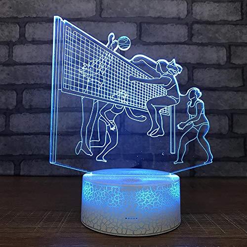 Novedosa luz nocturna de voleibol para mujeres, luz de visión 3D, luz LED, decoración creativa multicolor, lámpara de mesa pequeña, luz acrílica multicolor