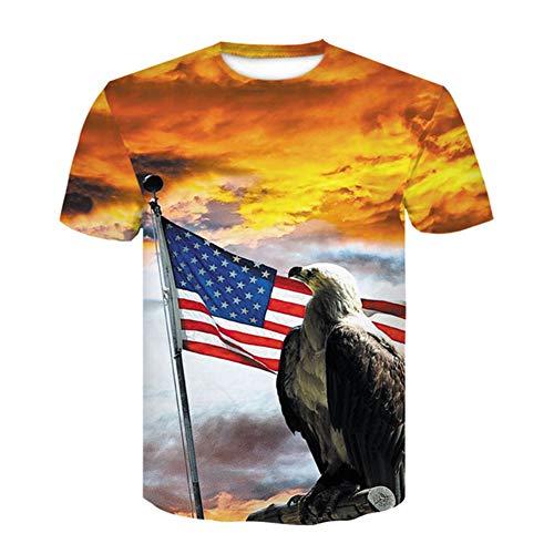 T-Shirt 3D Gedruckt MäNner Frauen Usa Flagge Kurzarm Hip Hop Lustige Adler Jungen MäDchen T-Shirts,H,M