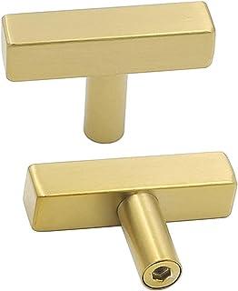 Goldenwarm Brass Cabinet Handles Drawer Pulls LS1212GD Single Hole T Bar Modern Hardware for Kitchen and Bathroom Cabinet ...