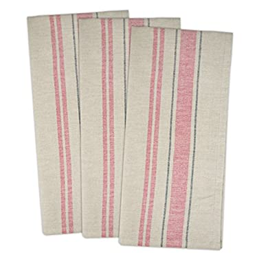 DII Cotton Oversized French Stripe Dish Towels, 20 x 30 Set of 3, Monogrammable Country Farmhouse Flour Sack Tea Towels-Red