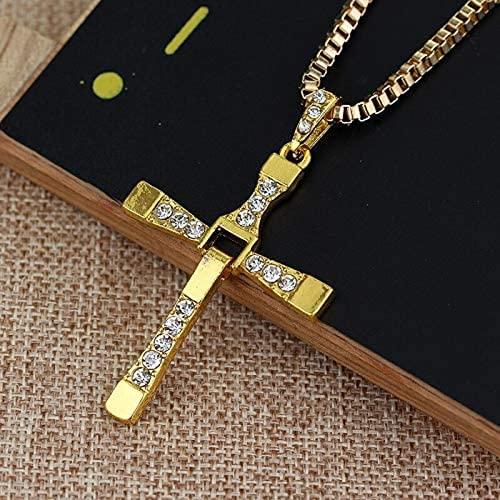 Dlcvko Dominio de la Velocidad Collar religioso Cristal Crystal Cross Colgante Collar Película Joyería Regalo de los Hombres