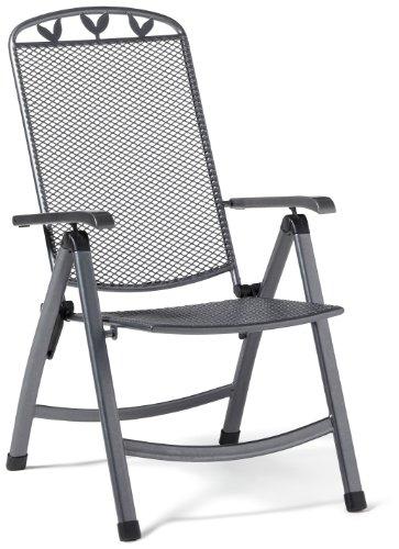 Greemotion Klappsessel Toulouse, anthrazit/schwarz/silber, Artikelmaße: ca. 58 x 64 x 108 cm
