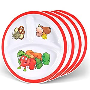 Health Shopping Health Beet Portion Control Plate for Kids, Toddlers – Round Kids Plate with