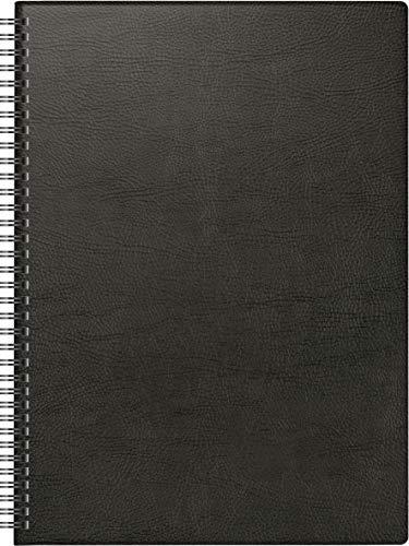 BRUNNEN 1078101901 Buchkalender Modell 781, 2 Seiten = 1 Woche, 21 x 29,7 cm, Kunststoff-Decke schwarz, Kalendarium 2021, Wire-O-Bindung