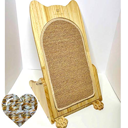 Cat Scratcher: Modern Cat- Like Scratching Board, Pet Lounge & Scratch Pad with a Free Natural Sisal Mat Refill for Large Adult Indoor House Cats & Small Kittens; Horizontal & Vertical Modes
