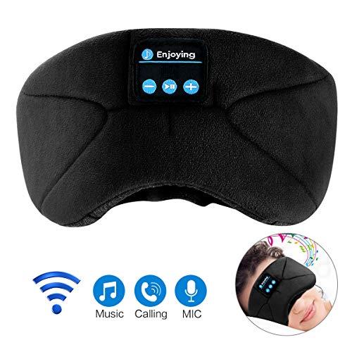 Bluetooth Schlafmaske,WU-MINGLU Augenmaske mit Wireless Bluetooth 4.2 Hifi Kopfhörer Schlafbrille Drahtlose Lautsprecher Musik Headset für Flugzeug Schlafen Reisen Entspannung,für iPhone iPad Samsung