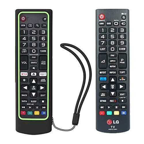 SIKAI CASE Ajustado Adapta Funda de Silicona Compatible con LG Remote AKB73715601 / AKB75095308 / AKB74915324 / AKB75095307, Anti-caída Carcasa de Protección a Prueba de Golpes (Verde Negro)