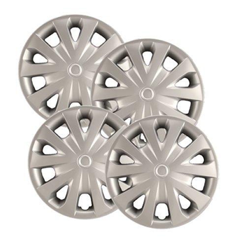 Hubcaps.com - Premium Quality 15  Silver Hubcaps Wheel Covers fits 2012-2019 Nissan Versa, Heavy Duty Construction (Set of 4)
