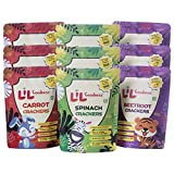 LiL'Goodness Assorted Crackers Beetroot, Carrots, Spinach| Healthy Snacks for Kids Natural Immunity...
