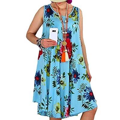 W-Fight Women Sleeveless Floral Print Summer Beach Swing Loose Vest Dress Plus Size
