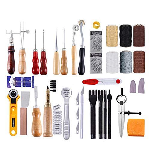 61Pcs Leer Naaien Gereedschap, leerbewerking Kits Supplies met Prong Perforatierand Beveler Wax Threads Naalden Perfect voor het naaien van Ponsen Cutting Naaien