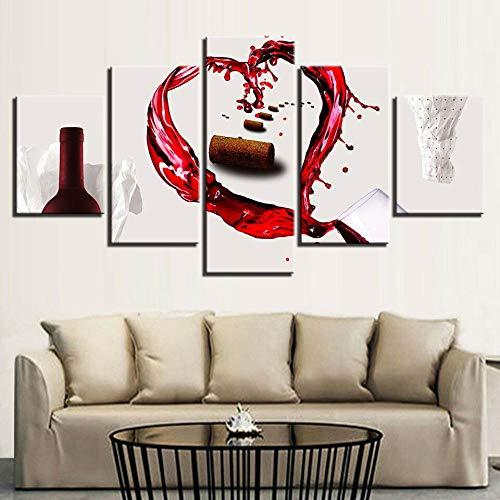 Lienzo de alta definición, impresión modular, 5 piezas, diseño de Sang de uva, corazón del vino, pinturas para salón, decoración del hogar