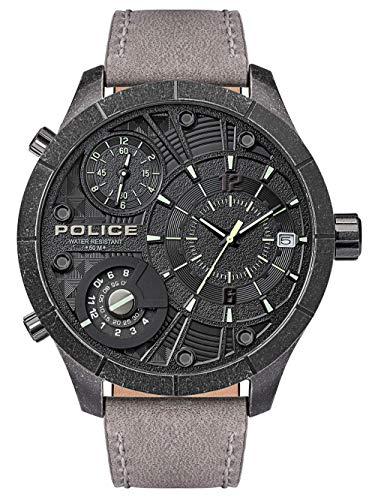 Police Unisex Erwachsene Analog Quarz Uhr mit Leder Armband PL15662XSQS.02