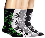 SEALEN 4 Pack Calcetines Divertidos Calcetines de Algodon, Unisex Hoja de Malezas Impresa Algodón Calcetines, Regalos de Navidad para Hombres Mujeres