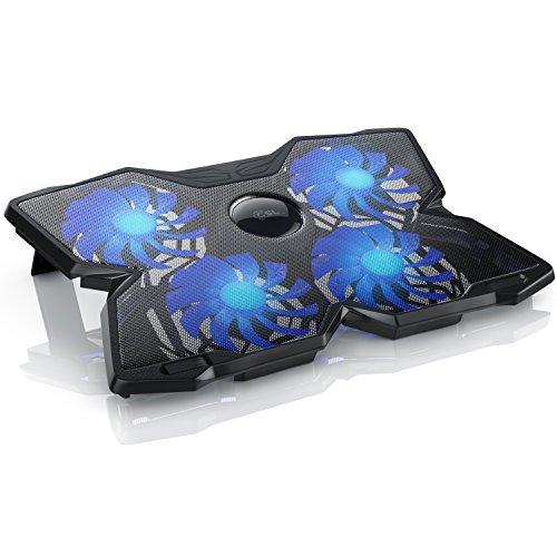 CSL - 15,6 Zoll Notebook Cooling-Pad Silent - Laptop Kühler Lüfter Kühlpad - Silent Cooling System - 2X USB-Port Typ A - robuste Metallgitter Oberfläche