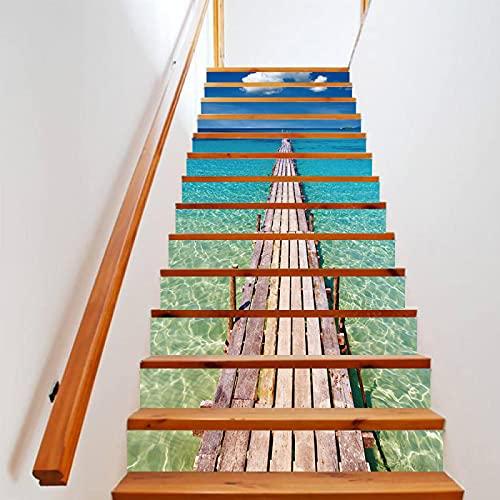 tzxdbh 3D Pegatinas de Escalera Azul océano puente de madera 100CMx18CMx13pieces(39.3'w x 7'h x 13pieces) Ecológicas PVC Autoadhesivas Calcomanías para Escalera Impermeables Extraíbles para Decoración