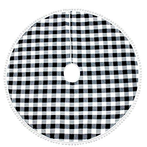 N&T NIETING Christmas Tree Skirt, 36 Inch Black and White Plaid Country Xmas Tree Decorations Tree Skirts Double Layers Holiday Party Home Decorations