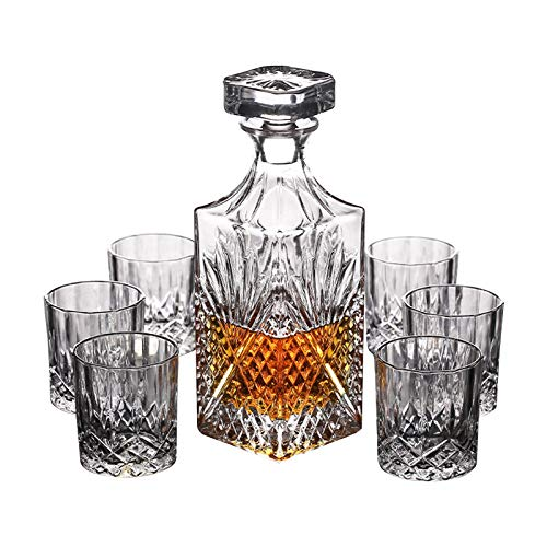 Whisky Decanter and Set of Whiskey Glasses, 750Ml No-Lead Crystal Whiskey Decanter, Whiskey Gift Sets for Men, for Spirits, Bourbon Or Scotch, for Father Dad Husband Him Brother,Square Cup,7 Pieces