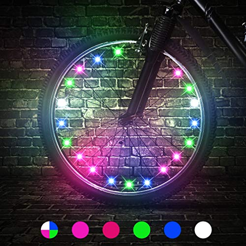 TINANA 2 Tire Pack LED Bike Wheel Lights Ultra Bright Waterproof Bicycle Spoke Lights Cycling Decoration Safety Warning Tire Strip Light for Kids Adults Night Riding (Multicolor 2pack)