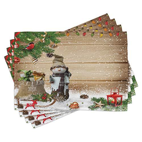 ABAKUHAUS Navidad Salvamantel Set de 4 Unidades, Muñeco de Nieve en el jardín, Material Lavable Estampado Decoración de Mesa Cocina, Multicolor