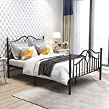 Metal Bed Frame Full Size with Headboard and Footboard Platform Mattress Base Metal Tube and Iron-Art Bed (Full, Black)