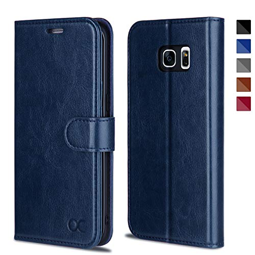 OCASE Coque Samsung Galaxy S7 Edge, Antichoc TPU Housse Samsung S7 Edge Cuir Premium Flip Case Portefeuille Etui [Béquille] [Fentes pour Cartes] [Fermoir Magnétique] Coque pour Galaxy S7 Edge - Bleu
