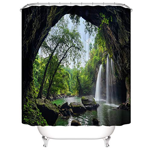 FRIFLY 3D digitaler Duschvorhang Anti-schimmel Wasserdicht Polyester mit 12 Badvorhangringen waschbar 180x180 Landschaft