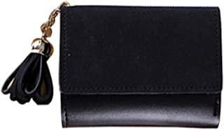 Pusaman The New Female Purse, Frosted Tassels Folded Short Wallet Card Bag, Wallet Students (Color : Black)