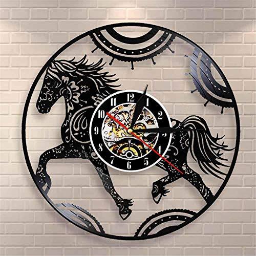 LBJZD Reloj de Pared Reloj De Caballo con Mandala Floral, Reloj De Pared con Caballo Mandala, Reloj De Pared Ecuestre con Animales, Registro De Vinilo, Pared Decorativa Sin Luz Led