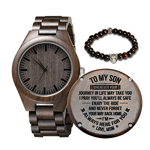Engraved Wooden Watch for Son, Personalized Wood Watch Anniversary Christmas Father Day for Son Husband Dad (Mom to Son)