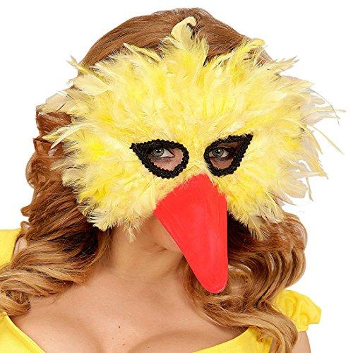 Amakando Federmaske Vogel Bibo Schnabelmaske Domino Augenmaske mit Federn Tiermaske Strauß Maske Vogel venezianisch Gelbe Vogelmaske