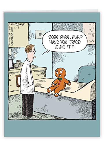 NobleWorks - Big Funny Get Well Soon Card (8.5 x 11 Inch) - Cartoon Humor, Feel Better Greeting - Sore Gingerbread Man J2609GWG