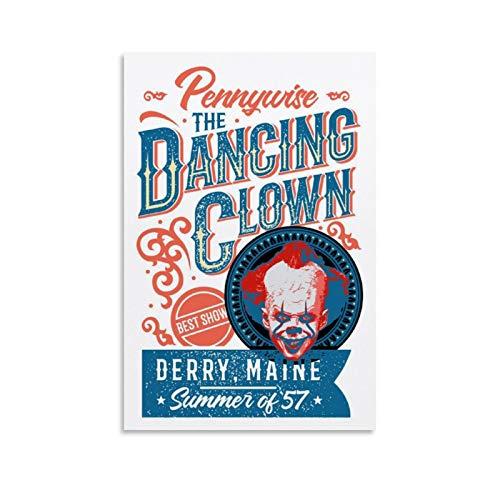 WETUO Vintage-Poster Pennywise Dancing Clown' Poster, dekoratives Gemälde, Leinwand, Wandkunst, Wohnzimmer, Poster, Schlafzimmer, Gemälde, 60 x 90 cm