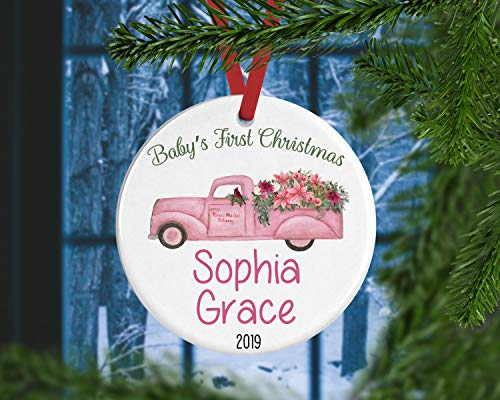 Babys First Christmas Ornament, Old Truck, Vintage Truck, for Baby Girl, Flower Ornament, Pink Truck Personalized with Name and Year 3' Ceramic Ornament