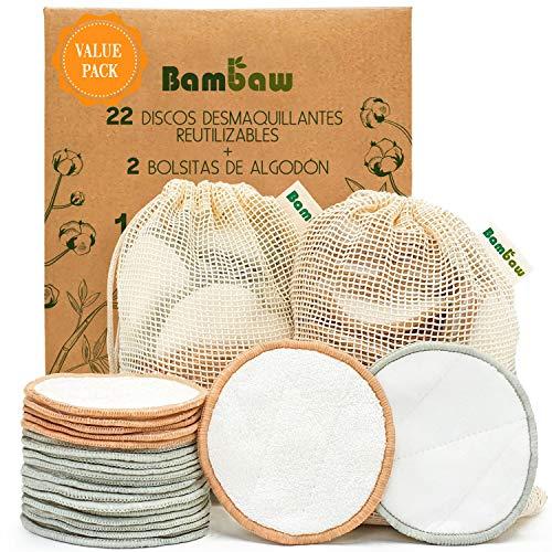Bambaw Discos Desmaquillantes Reutilizables con dos bolsitas de algodón para lavarlos – Pack 22 Discos