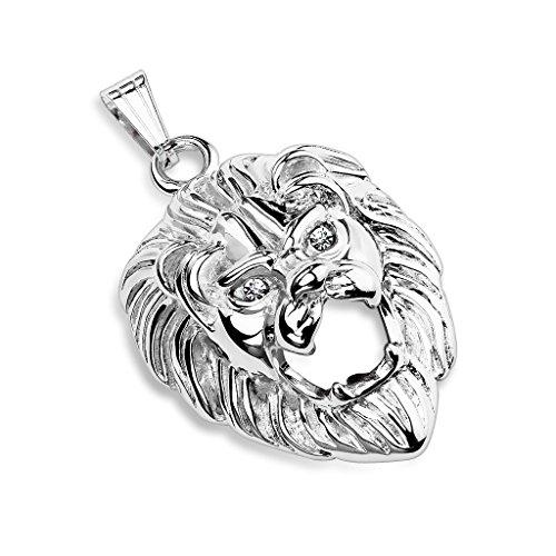 Bungsa® Löwen Kettenanhänger für Halsketten mit Kristall Edelstahl Silber Lion (Pendant Anhänger Charm Beads Chirurgenstahl Damen Herren Schmuck)
