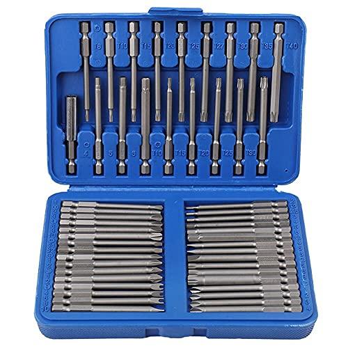 lixiaolin 50Pcs Screwdriver bit Set Chrome Vanadium Steel Hex Star Torx Spline Flat Long Drill bits