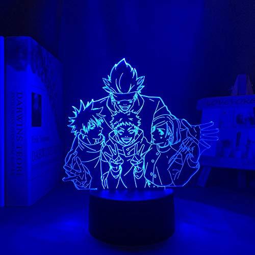 Regalos para niños lámpara de anime Satoru Gojo Team luz Jiu-Jitsu batalla LED regalo de cumpleaños luz nocturna Jiu-Jitsu batalla grupo sato decoración dormitorio luz ambiente alta