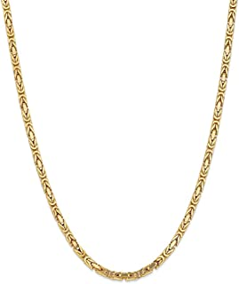 14k Solid Yellow Gold 4mm Byzantine Chain Necklace 24inch